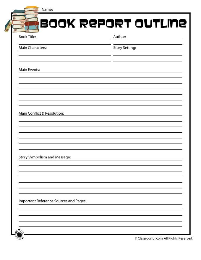 Book Report Outline  Mt Home Arts With Middle School Book Report Template With Middle School Book Report Template