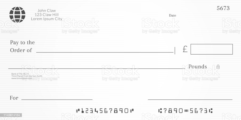 British Checkbook Page Bank Check Template With Pound Currency Blank Cheque  Stock Illustration - Download Image Now For Blank Cheque Template Uk Pertaining To Blank Cheque Template Uk