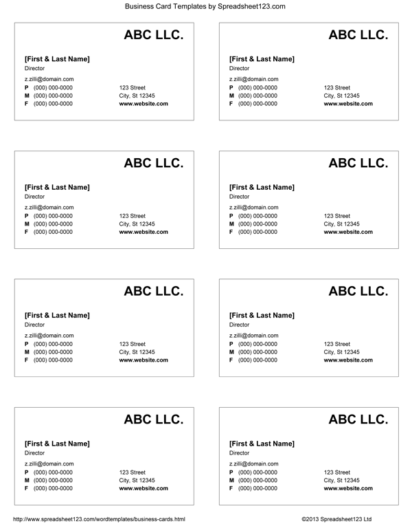 Business Card Templates for Word Regarding Free Editable Printable Business Card Templates In Free Editable Printable Business Card Templates