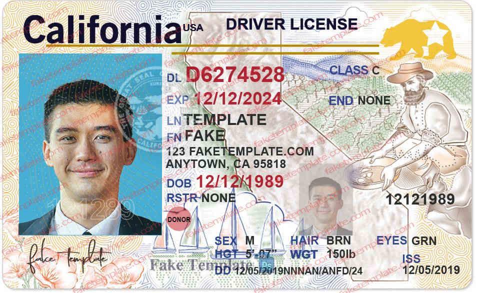 California Driver License Template V11 New - Fake Template Intended For Blank Drivers License Template In Blank Drivers License Template