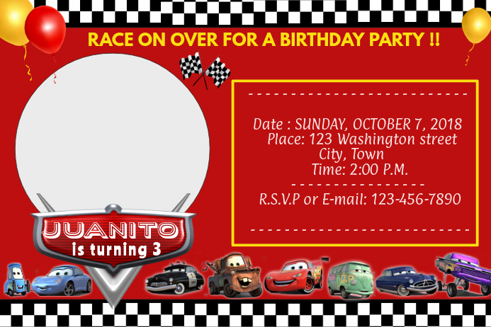CARS DISNEY BIRTHDAY INVITATION Template  PosterMyWall Regarding Cars Birthday Banner Template