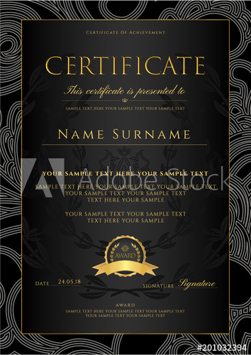 Certificate, Diploma (golden design template, background with  Inside Certificate Scroll Template