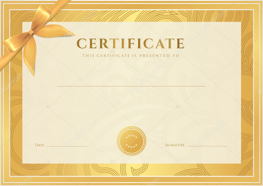 Certificate, Diploma of completion (template, background). Gold floral  (scroll, swirl) pattern (watermark), border, frame, bow Intended For Certificate Scroll Template