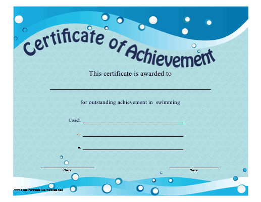 Certificate of Achievement - Swimming Printable Certificate Within Free Swimming Certificate Templates In Free Swimming Certificate Templates
