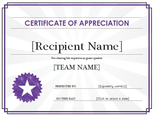 Certificate Of Appreciation Template  Free Sample Templates In In Appreciation Certificate Templates Regarding In Appreciation Certificate Templates