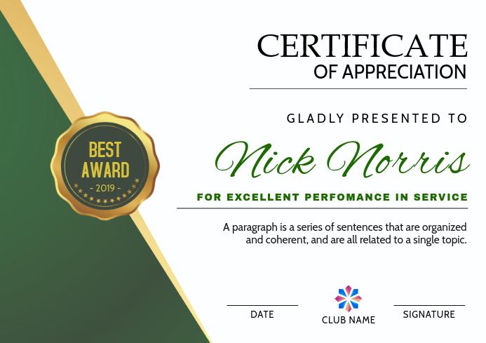 Certificate of appreciation Template  PosterMyWall For In Appreciation Certificate Templates In In Appreciation Certificate Templates