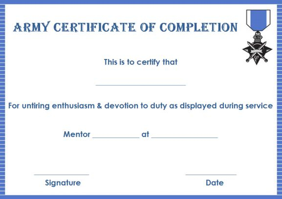 Certificate of Completion: 11 Templates in Word Format - Demplates With Regard To Army Certificate Of Completion Template Regarding Army Certificate Of Completion Template