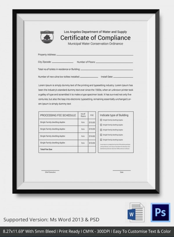 Certificate of Compliance Template – 11+ Word, PDF, PSD, AI  With Regard To Certificate Of Compliance Template For Certificate Of Compliance Template