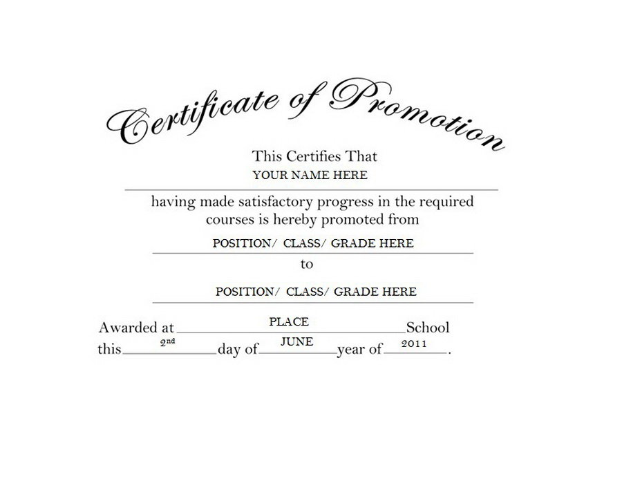 Certificate of Promotion Free Templates Clip Art & Wording  For Promotion Certificate Template For Promotion Certificate Template