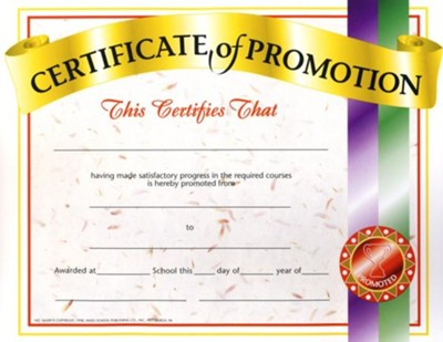 Certificate of Promotion (Pack of 11) In Promotion Certificate Template