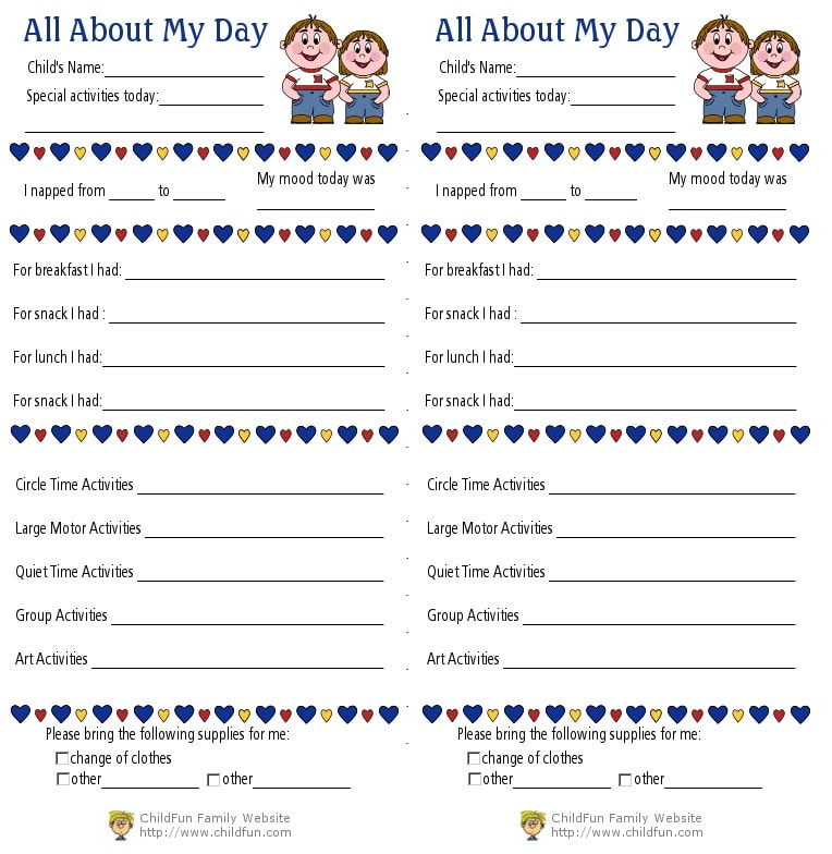 Child Care & Daily Reports Printable Forms  ChildFun In Daycare Infant Daily Report Template Inside Daycare Infant Daily Report Template