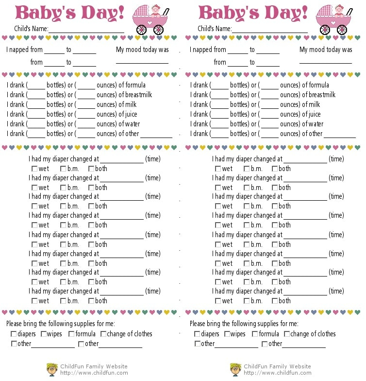 Child Care & Daily Reports Printable Forms  ChildFun Throughout Daycare Infant Daily Report Template Intended For Daycare Infant Daily Report Template