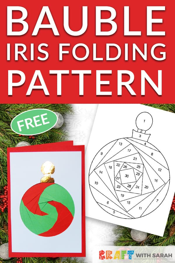 Christmas Bauble Iris Folding Pattern  Craft With Sarah With Regard To Iris Folding Christmas Cards Templates With Iris Folding Christmas Cards Templates