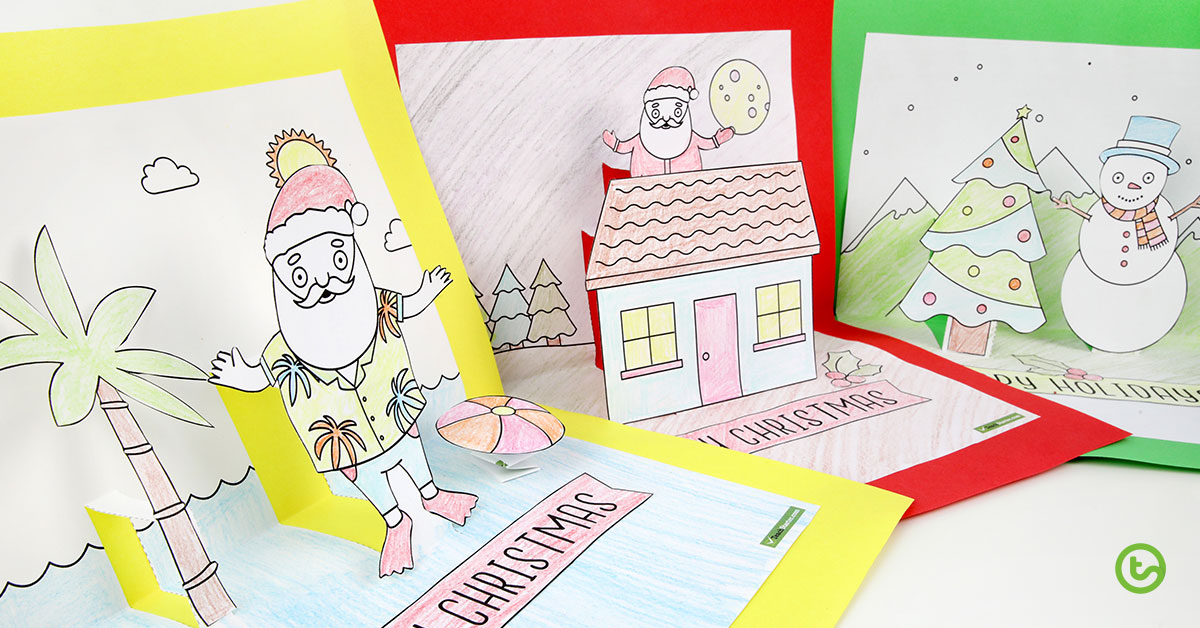 Christmas Craft - Summer and Winter Pop Up Card Templates Within Free Printable Pop Up Card Templates Within Free Printable Pop Up Card Templates