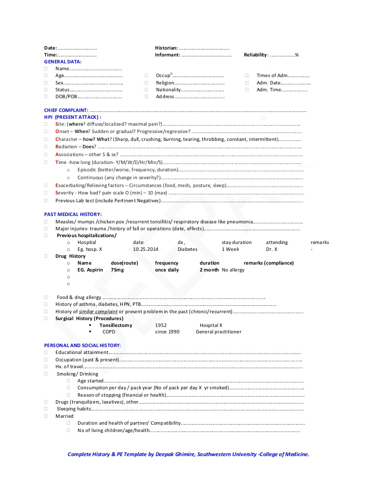 Classical medical history And Physical examination template With History And Physical Template Word