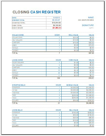 Closing Cash Register Template for MS Excel  Excel Templates In End Of Day Cash Register Report Template Inside End Of Day Cash Register Report Template
