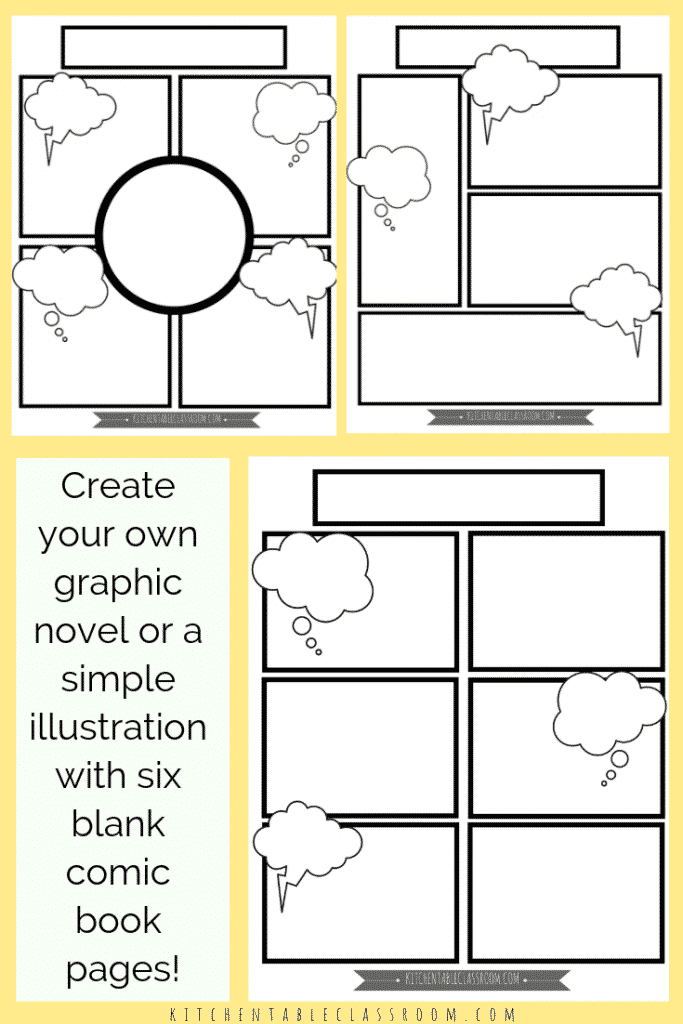 Comic Book Templates - Free Printable Pages - The Kitchen Table  Throughout Printable Blank Comic Strip Template For Kids Pertaining To Printable Blank Comic Strip Template For Kids