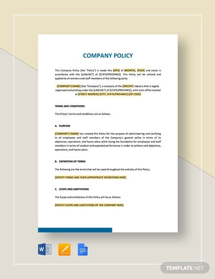 Company Policy Template - 11+ Free PDF Documents Download  Free  Intended For Company Credit Card Policy Template Within Company Credit Card Policy Template