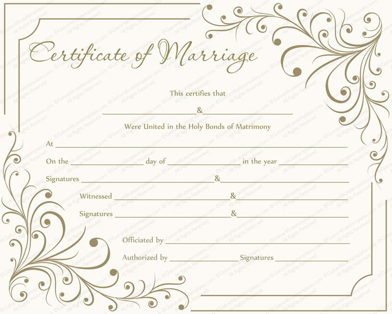 Creamy Gray Marriage Certificate Template - for Word With Regard To Certificate Of Marriage Template With Regard To Certificate Of Marriage Template
