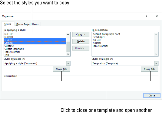 Creating and Managing Word 11 Templates - dummies For Button Template For Word Intended For Button Template For Word