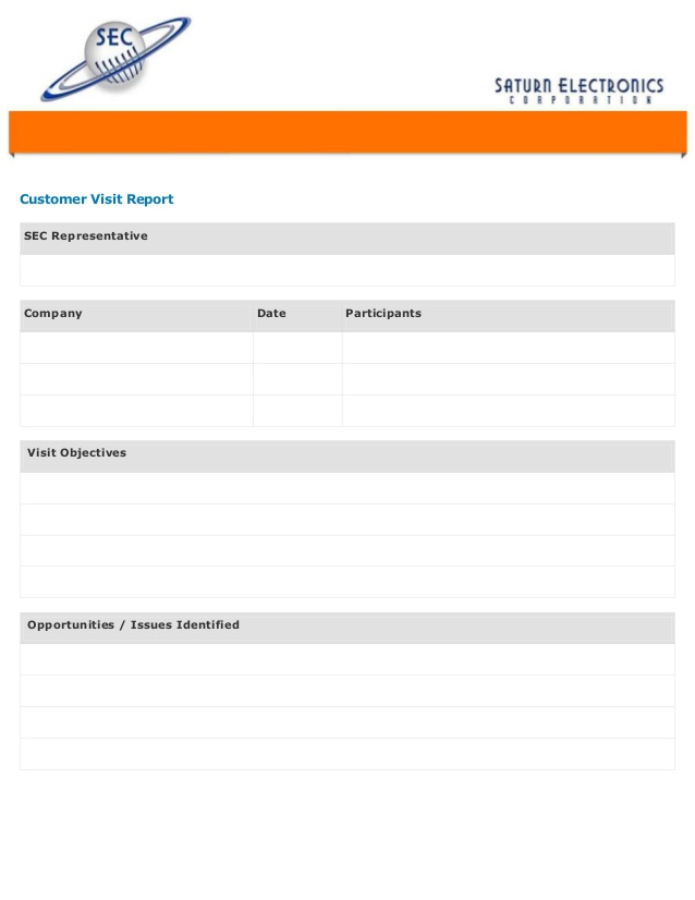 Customer Visit Form With Customer Visit Report Format Templates For Customer Visit Report Format Templates