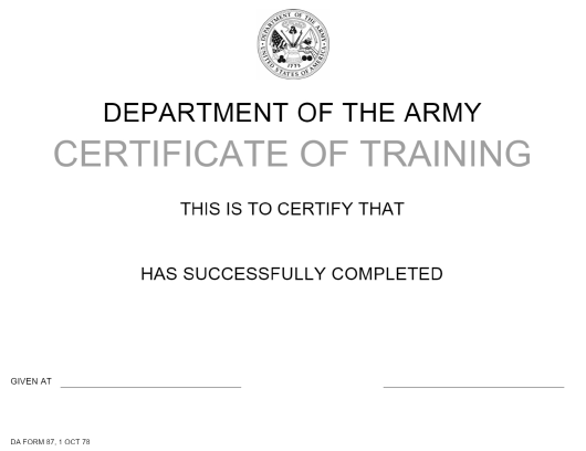 DA Form 11 Download Printable PDF or Fill Online Certificate of  Intended For Army Certificate Of Completion Template With Regard To Army Certificate Of Completion Template