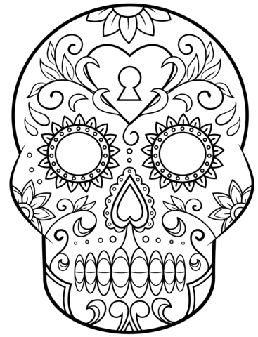Day of the Dead Sugar Skull coloring page  Free Printable  Pertaining To Blank Sugar Skull Template Pertaining To Blank Sugar Skull Template
