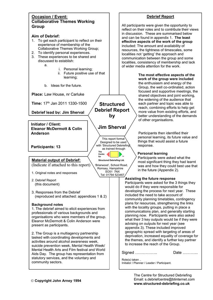 Debrief Report Intended For Event Debrief Report Template With Regard To Event Debrief Report Template