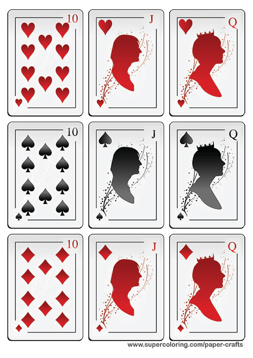 Deck Of Playing Cards With Silhouettes Printable Template  Free  With Regard To Free Printable Playing Cards Template