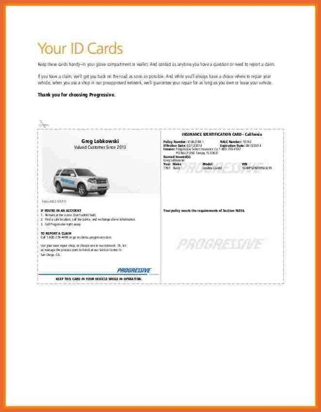 Declaration Page Of Insurance Progressive With Proof Of Insurance Card Template With Proof Of Insurance Card Template