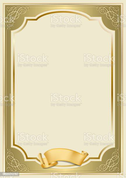 Decorative Rectangular Framework And A Scroll Template For Diploma  Certificate Card A11 A11 Page Proportions Golden Gradients Applied Stock  Illustration  For Certificate Scroll Template With Certificate Scroll Template