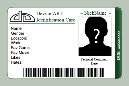 deviantART ID Card Template by Etorathu on DeviantArt Within Personal Identification Card Template With Regard To Personal Identification Card Template