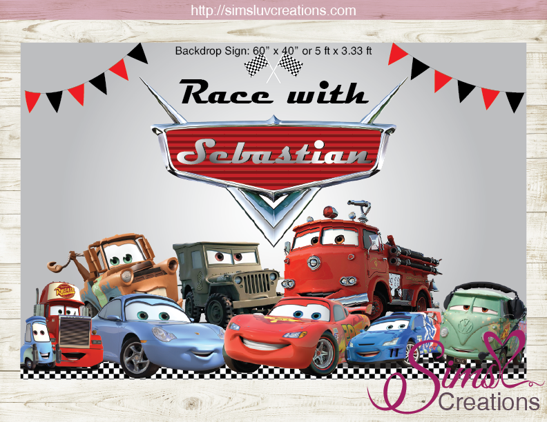 DISNEY CARS PARTY BACKDROP BANNER  CARS BIRTHDAY POSTER Regarding Cars Birthday Banner Template For Cars Birthday Banner Template