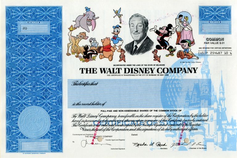 Disney is one of Many Companies no Longer Issuing Stock  With Regard To Corporate Bond Certificate Template