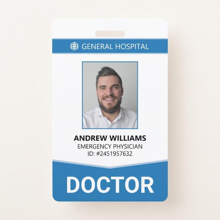 Doctor Hospital Medical Staff ID Badge  Zazzle.com In Hospital Id Card Template