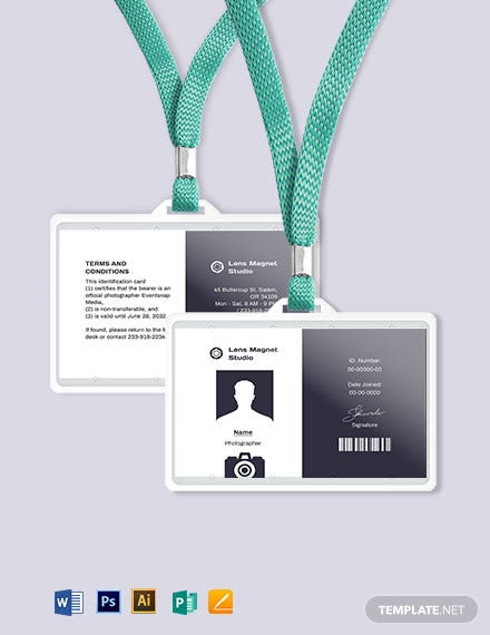 Download 11+ Photographer ID Card Templates [Customize & Download  Inside Photographer Id Card Template Regarding Photographer Id Card Template