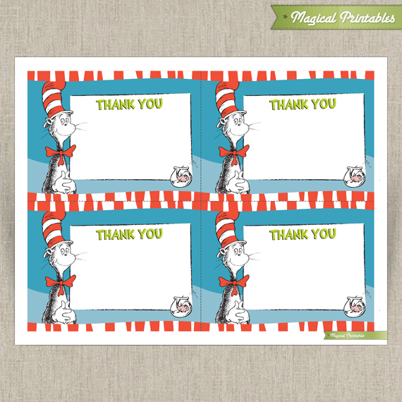 Dr Seuss Cat in The Hat Editable Birthday Thank you Cards - Instant  Download! With Dr Seuss Birthday Card Template With Dr Seuss Birthday Card Template