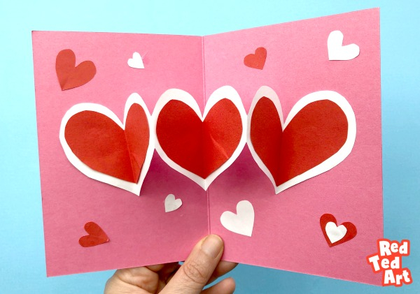 Easy Heart Pop Up Cards - Red Ted Art - Make crafting with kids With Heart Pop Up Card Template Free With Regard To Heart Pop Up Card Template Free
