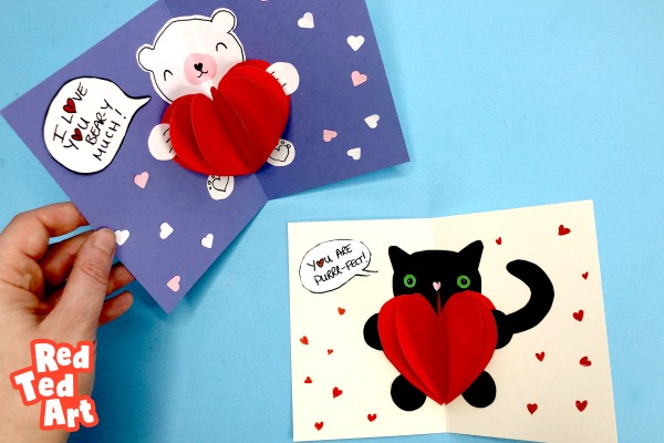 Easy Pop Up Bear Heart Card - Red Ted Art - Make crafting with In Heart Pop Up Card Template Free With Regard To Heart Pop Up Card Template Free