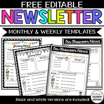 Editable Classroom Newsletter Templates - Color & Black and White ! FREEBIE! Within Free School Newsletter Templates Inside Free School Newsletter Templates