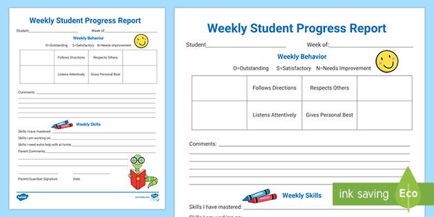 Editable Weekly Student Progress Report Throughout Student Progress Report Template Within Student Progress Report Template