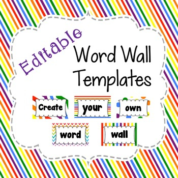 Editable Word Wall Template in Primary Rainbow Patterns In Blank Word Wall Template Free With Regard To Blank Word Wall Template Free
