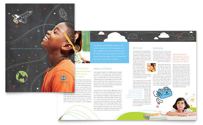 Education Foundation & School Brochure Template Design Inside School Brochure Design Templates For School Brochure Design Templates