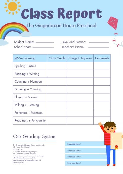 Elementary School Report Card Template  PosterMyWall Pertaining To Report Card Template Pdf Pertaining To Report Card Template Pdf