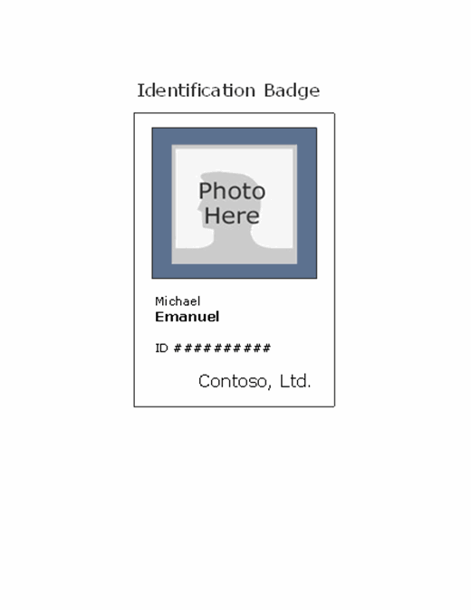 Employee photo ID badge (portrait) Intended For Employee Card Template Word Pertaining To Employee Card Template Word