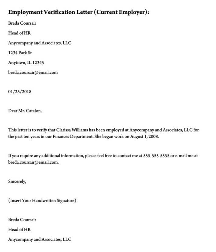 Employment Verification Letter (11+ Sample Letters and Writing Tips) Intended For Employment Verification Letter Template Word Throughout Employment Verification Letter Template Word