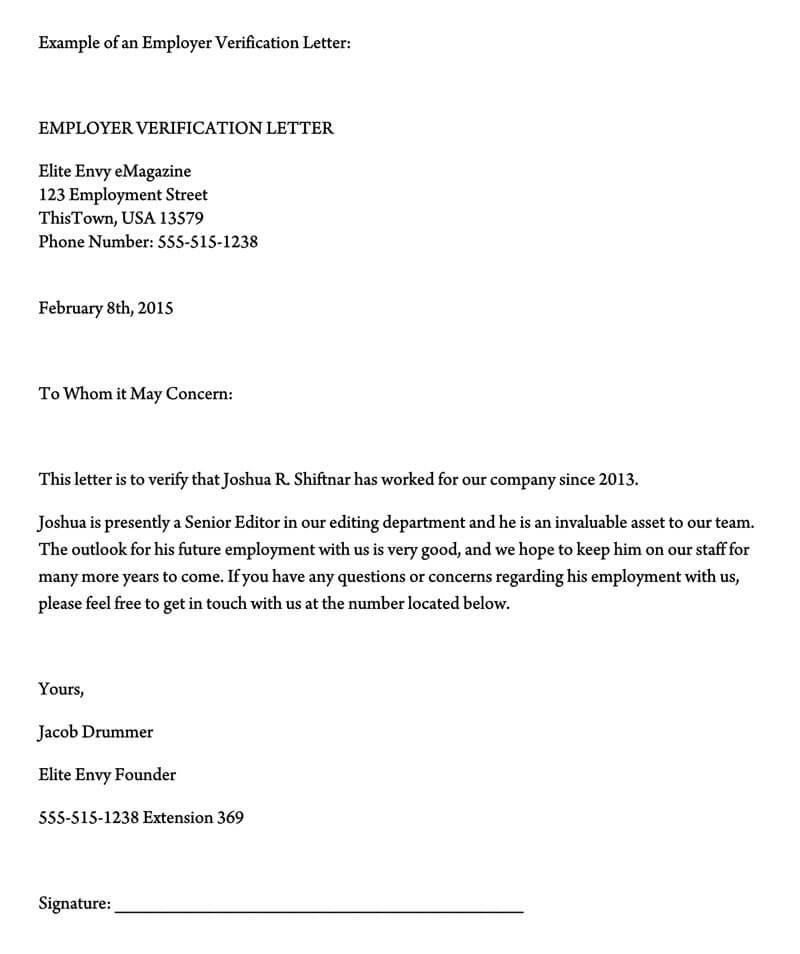 Employment Verification Letter (11+ Sample Letters and Writing Tips) With Employment Verification Letter Template Word Regarding Employment Verification Letter Template Word