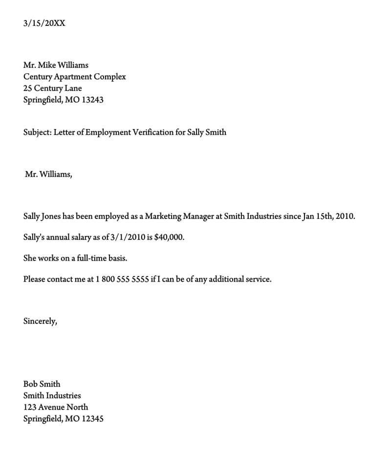 Employment Verification Letter (11+ Sample Letters and Writing Tips) Within Employment Verification Letter Template Word For Employment Verification Letter Template Word