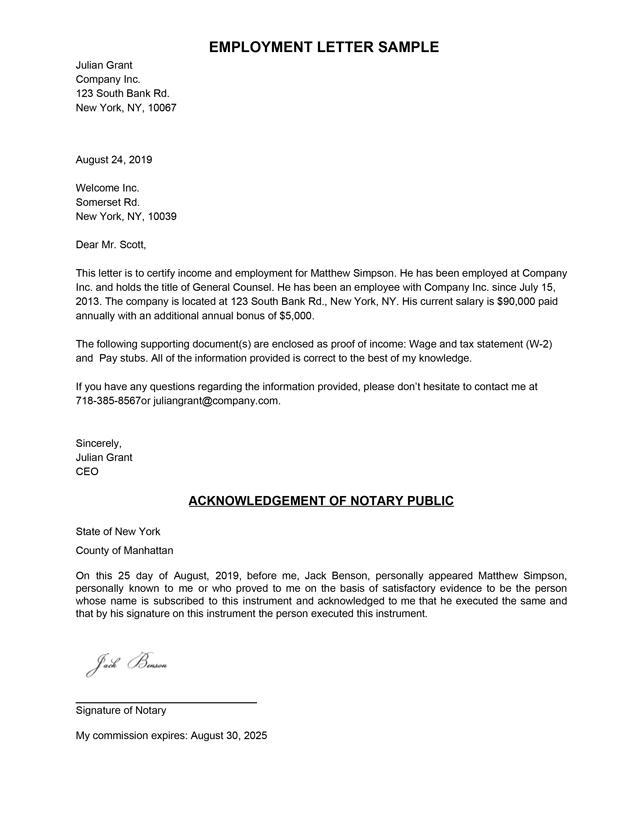 Employment Verification Letter  Letter of Employment Samples  Within Employment Verification Letter Template Word Intended For Employment Verification Letter Template Word