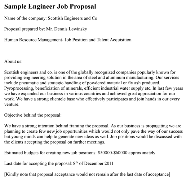 Engineer Job Proposal Template Within New Position Proposal Template Regarding New Position Proposal Template